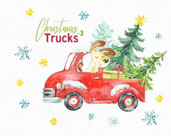 Christmas Truck 3. Watercolor holiday clipart, dog, snowman.