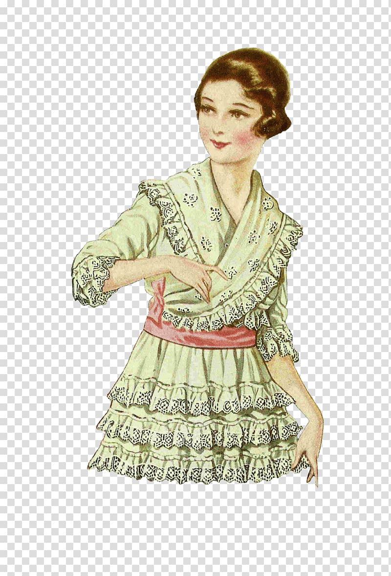 Woman wearing green dress drawing, Vintage Girl Illustration.