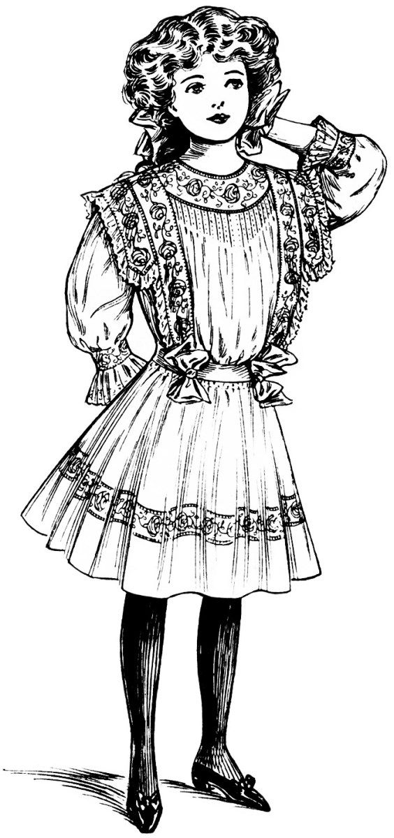 Here is a vintage clip art illustration of a Victorian girl.