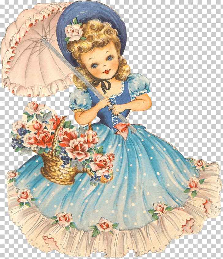 Vintage Girl Doll, woman wearing blue dress illustration PNG.