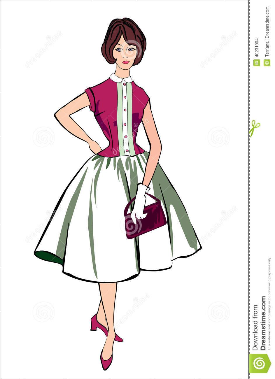 Vintage Dresses Clipart.