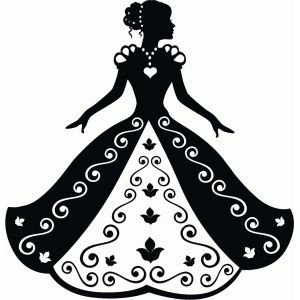 Cinderella in ball gown silhouette.