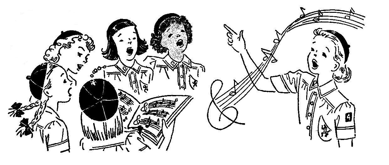 brownies singing girl scout vintage clip art.
