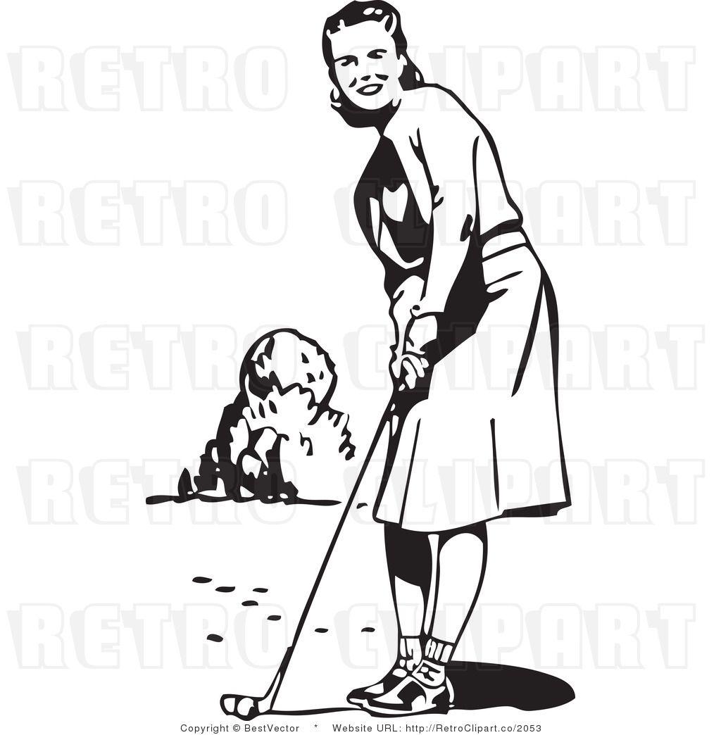 Vintage Lady Golfer Clip Art.