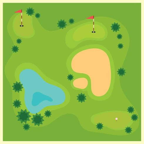Golf Course From Top View illustration eps, svg file.