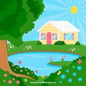 cartoon pond background.