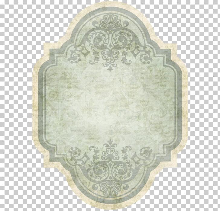 Label Vintage Paper, vintage, gray and teal floral frame PNG.