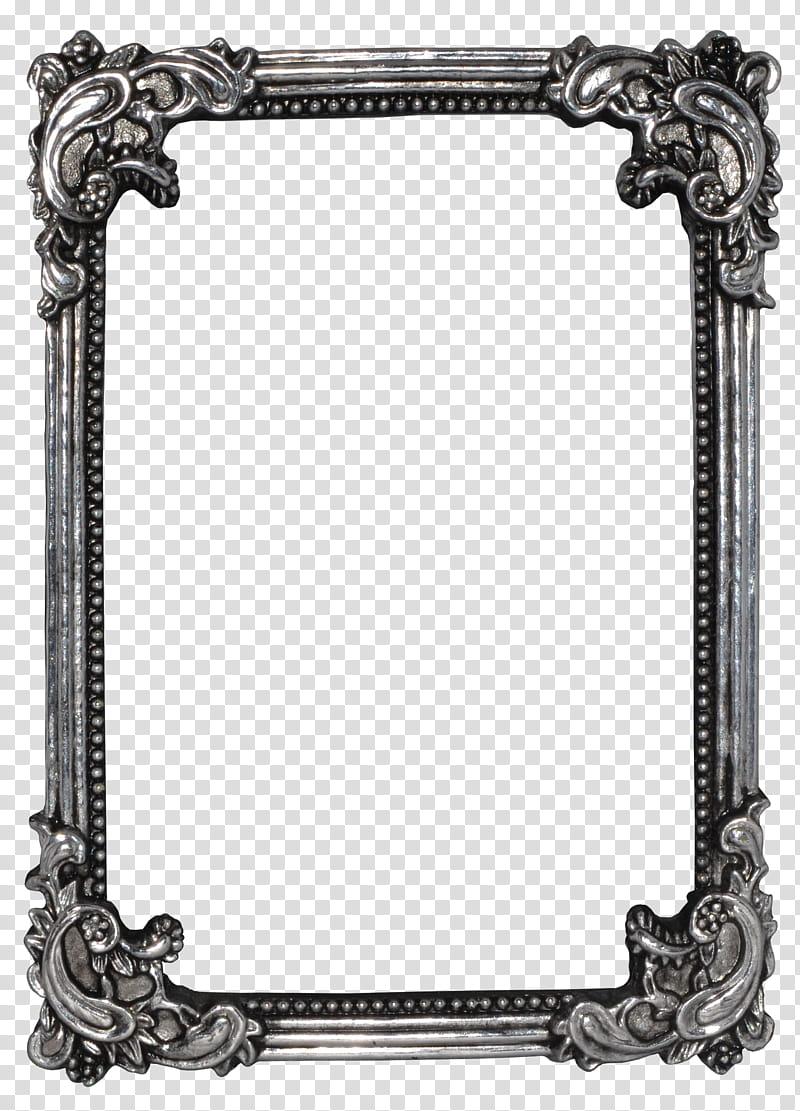 Vintage frame precut, rectangular gray steel frame.