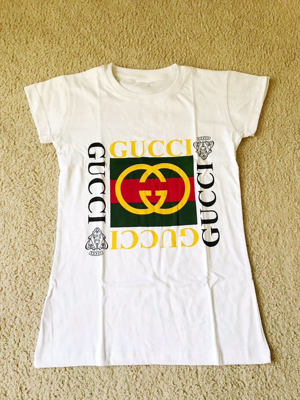 Brand New Vintage Gucci Inspired White Logo Womens Womens Short Sleeve  T.