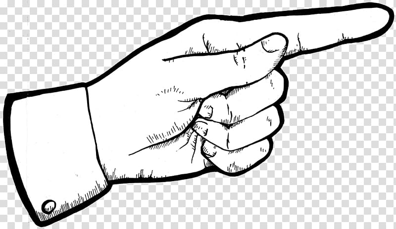 Left hand illustration, Index finger Pointing Middle finger.