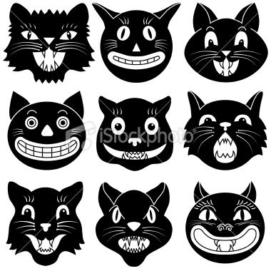 Vector illustrations of Halloween cat heads..