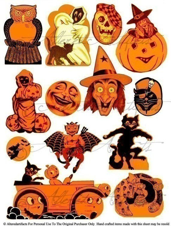 Printable Vintage Halloween Clip Art Printable Retro.