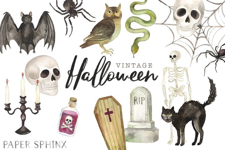 Vintage Halloween Clipart Pack.