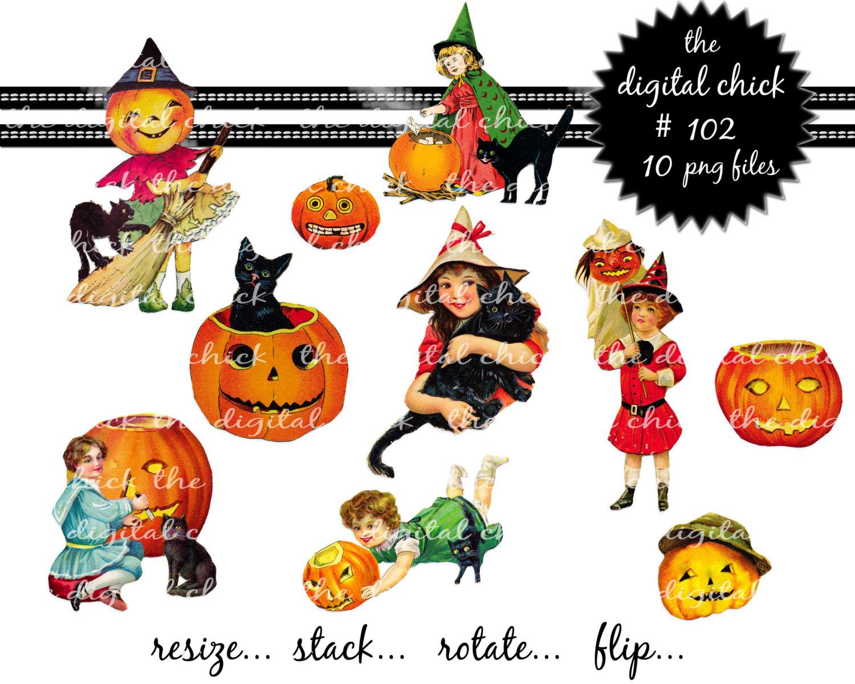 Vintage Halloween Clipart.