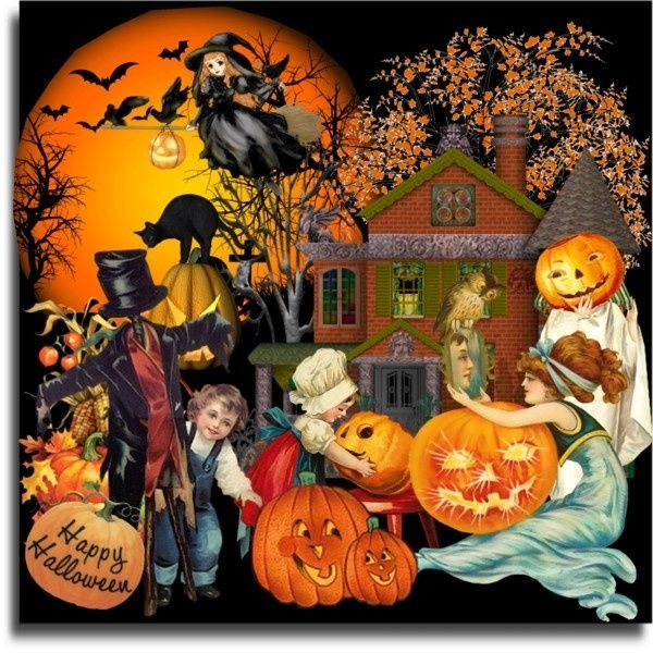 free printable vintage halloween clip art.