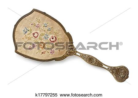 Stock Image of Embroidered Back of Vintage Hand Mirror k17797255.