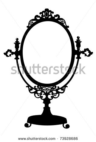 vintage hand mirror drawing.