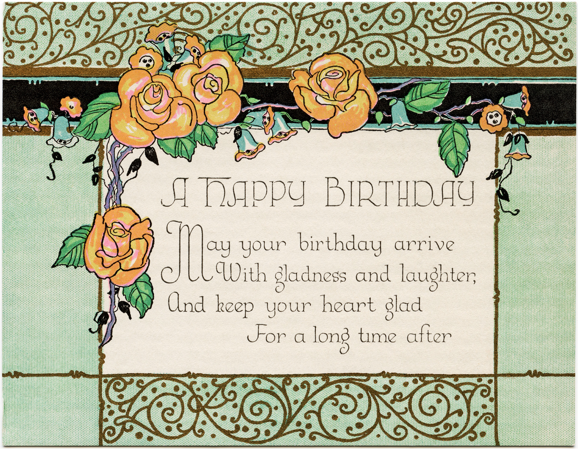 Art Deco Birthday Card ~ Free Download.