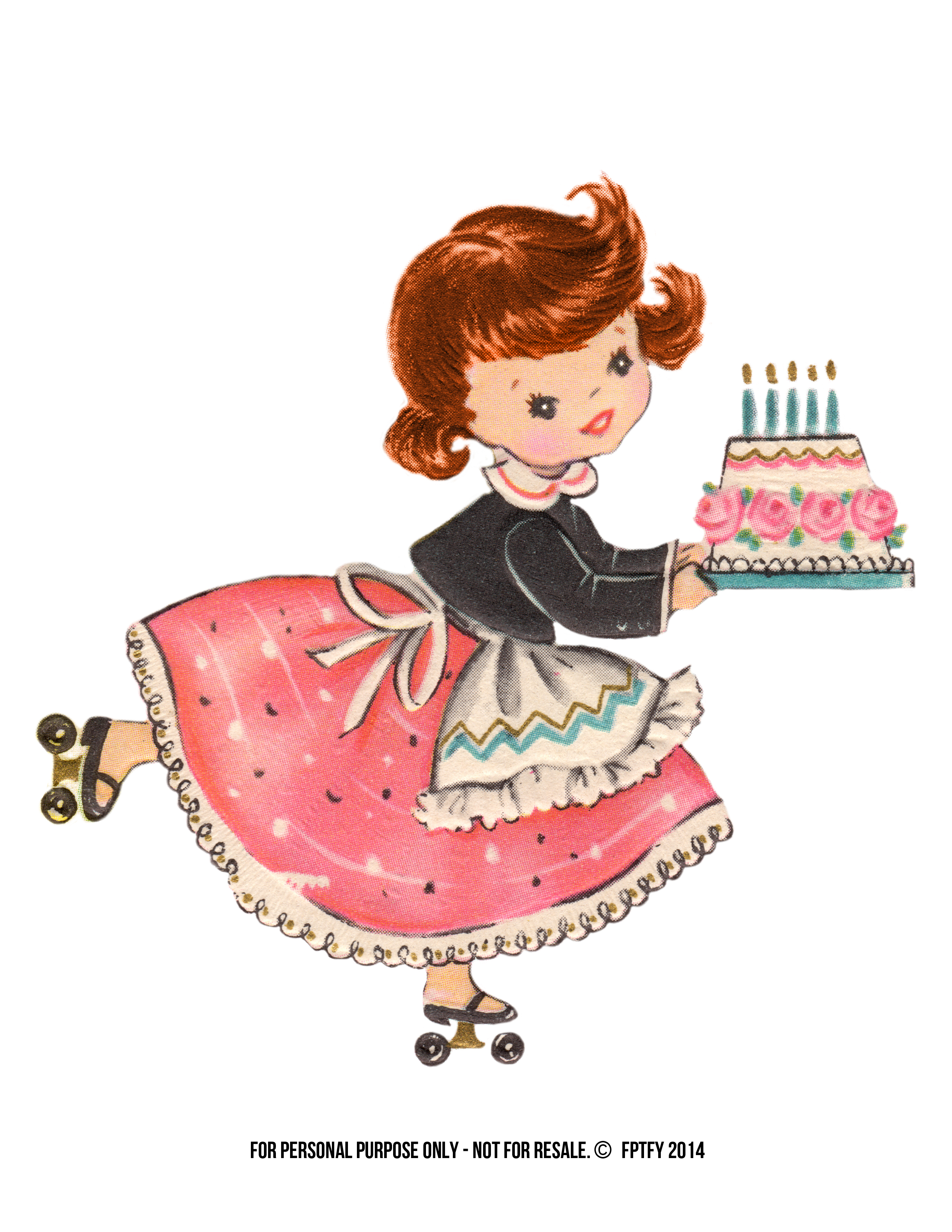 Vintage Stock: Free Large Birthday Girl Clip Art.