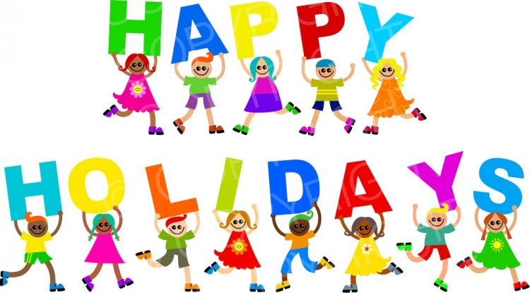 Diverse Happy Holiday Kids Clip Art.