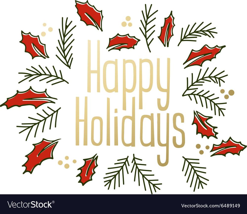 Happy Holidays vintage greeting card.