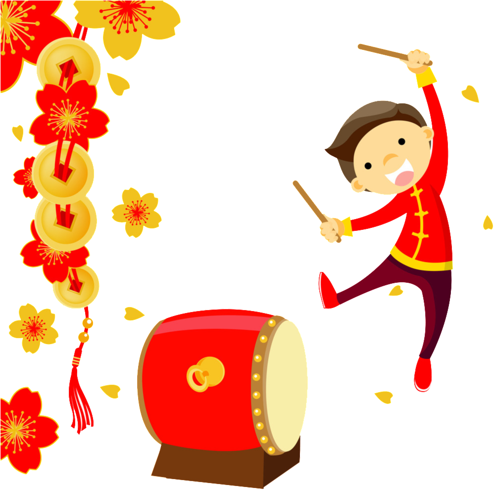 Knocking Drums To Welcome New Year Element Design.