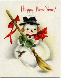vintage snowman clipart, old fashioned new year card.