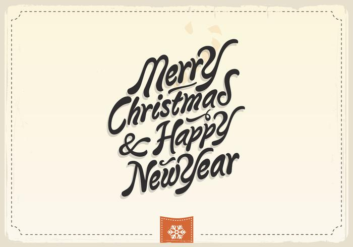 Merry Christmas & Happy New Year Vintage Vector.