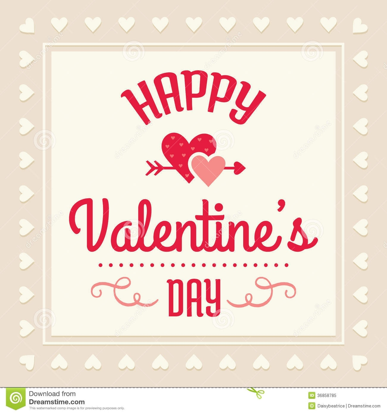 Vintage Happy Valentines Day Clipart.