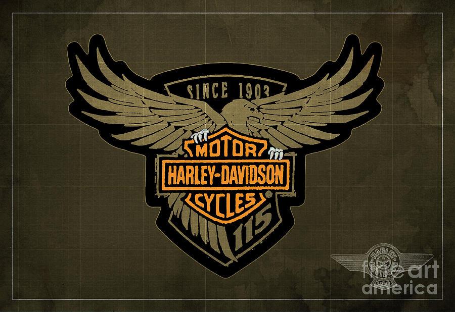 Harley Davidson Old Vintage Logo Fuel Tank Motorcycle Brown Background.