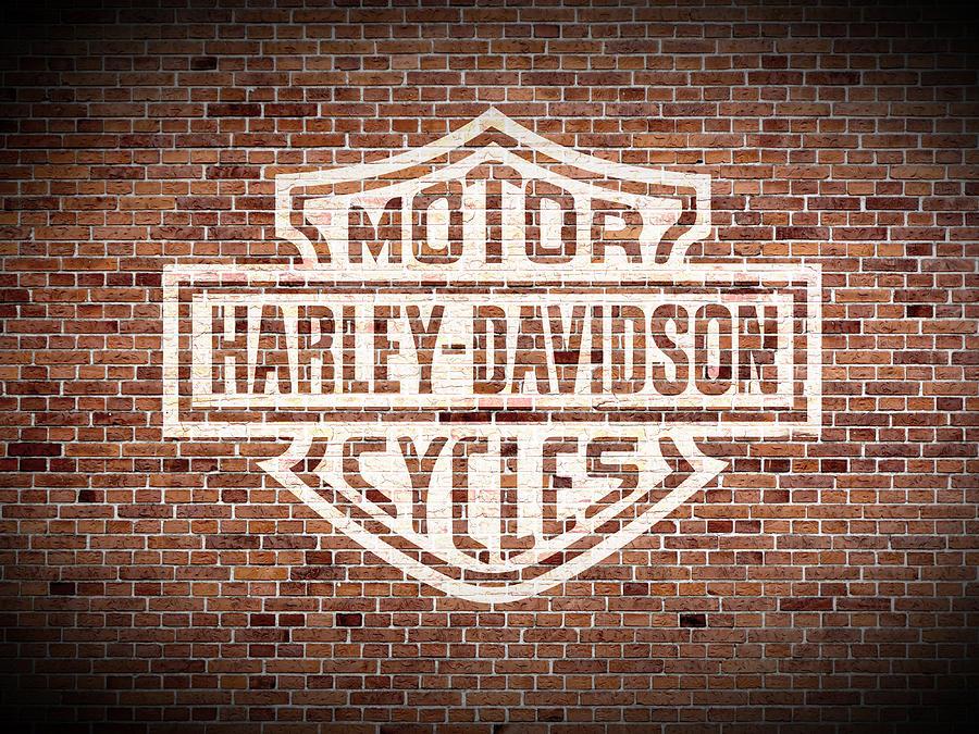 Vintage Harley Davidson Logo Painted On Old Brick Wall.