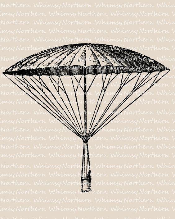 Vintage Parachute Clip Art.