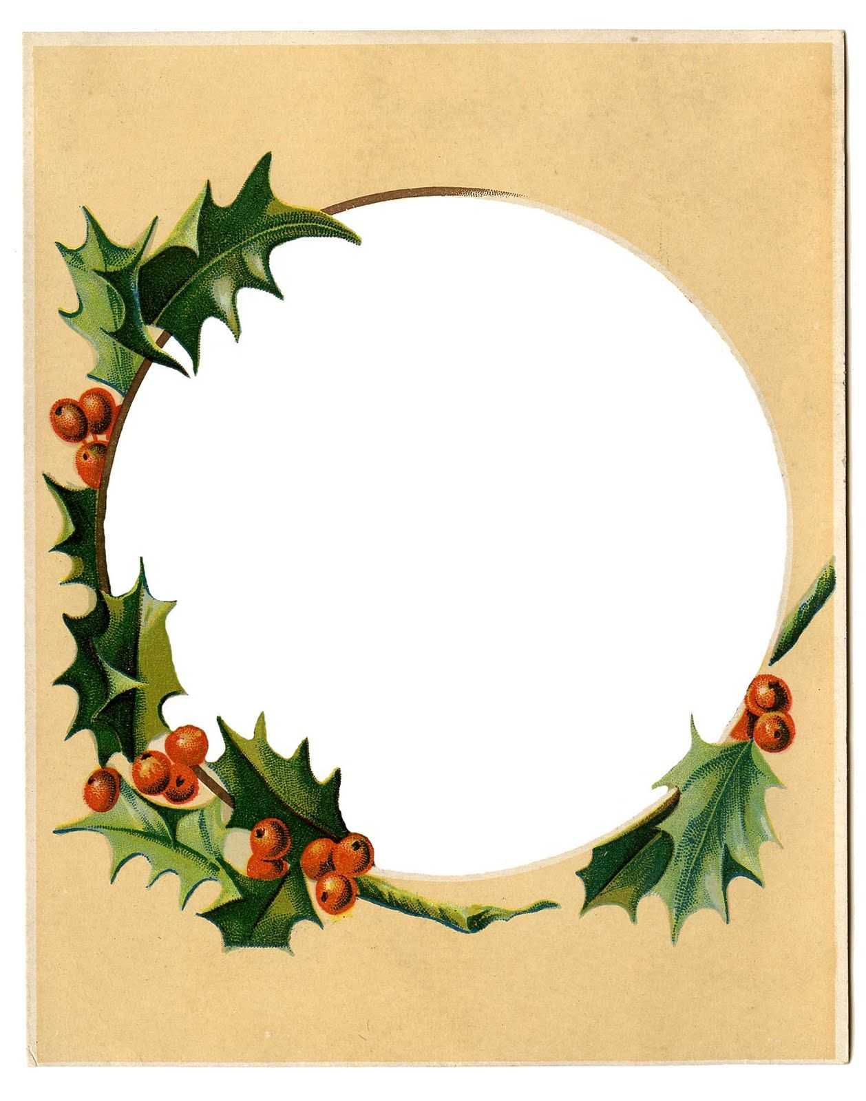 Vintage Holiday Border Clipart.