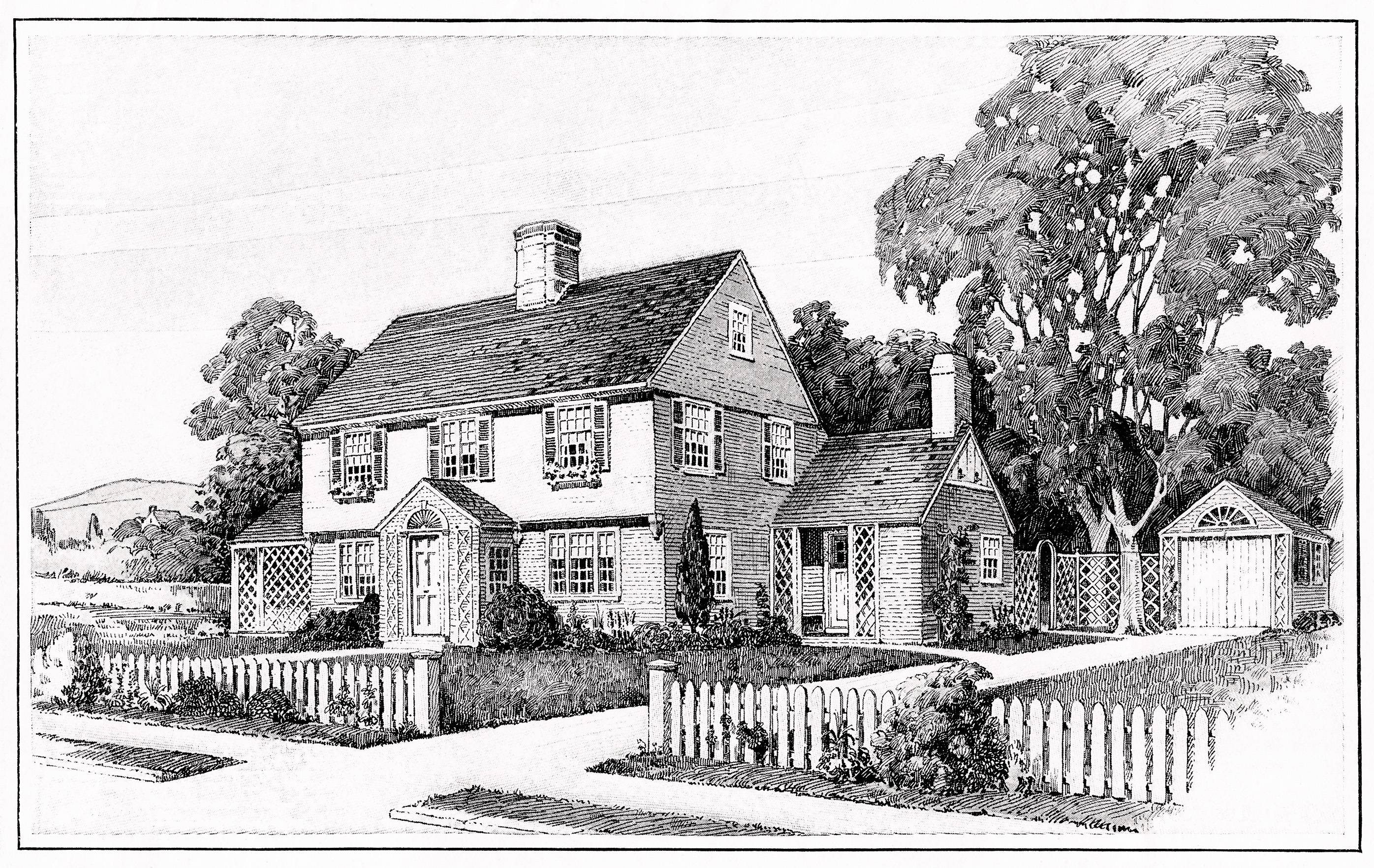 Vintage House and Floor Plans Clip Art.