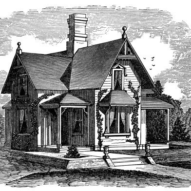 antique house illustration, black and white clipart, old.