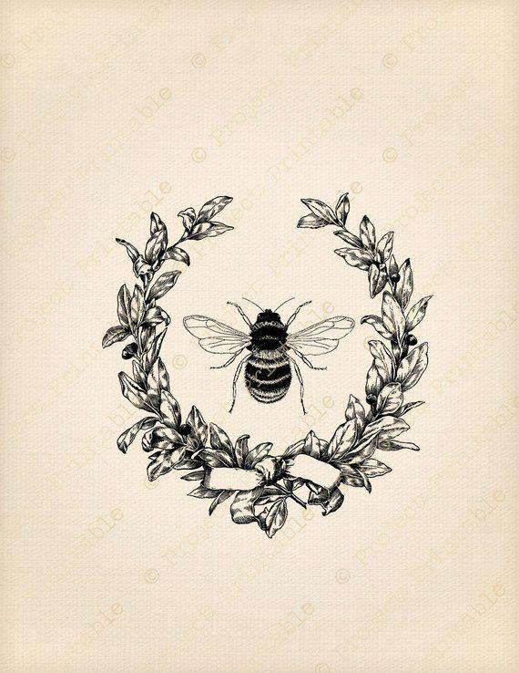 Instant Download Printable Graphics Vintage Pretty HONEY BEE.