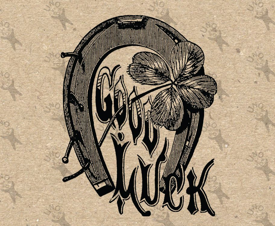 Vintage image Horseshoe Shamrock Good Luck Instant Download.