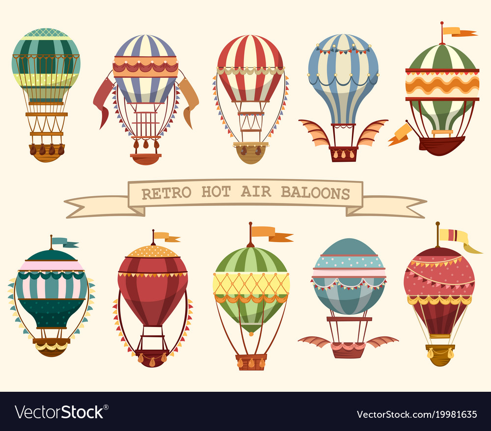 Icons of vintage hot air balloons with flags.