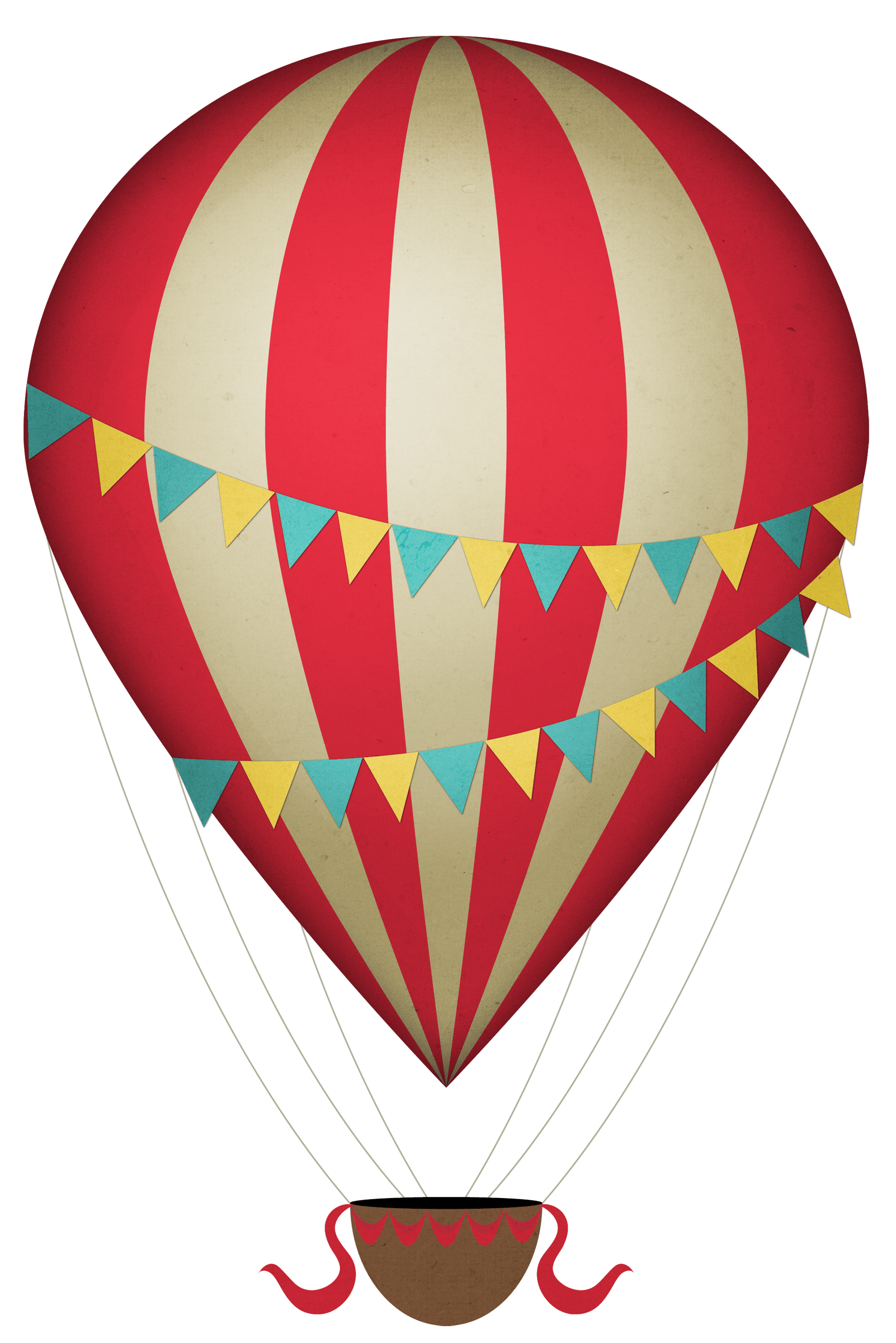 Vintage Clipart Hot Air Balloon transparent PNG.
