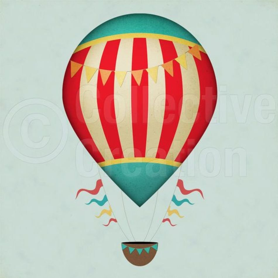 Vintage Hot Air Balloon Clip Art N4 free image.