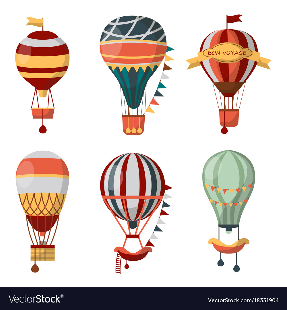 Hot air balloon retro icons bon voyage.