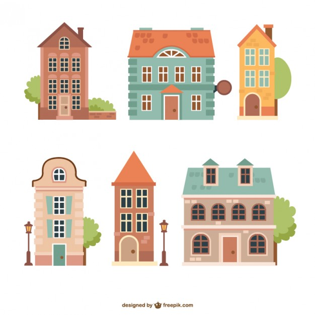 Vintage Houses Pack Free Vector.