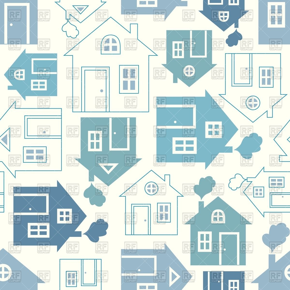 Abstract house silhouette and outline seamless background Vector.