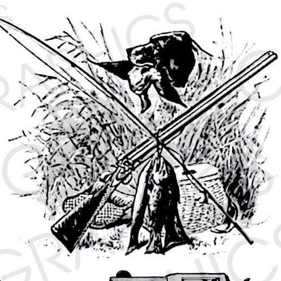 Vintage Hunting Illustration Fishing Illustration Rifle.