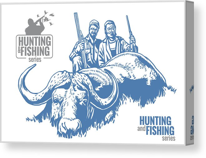 Hunting And Fishing Vintage Emblem Canvas Print.