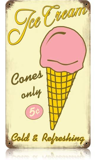 Vintage Ice Cream Metal Sign 8 x 14 Inches.