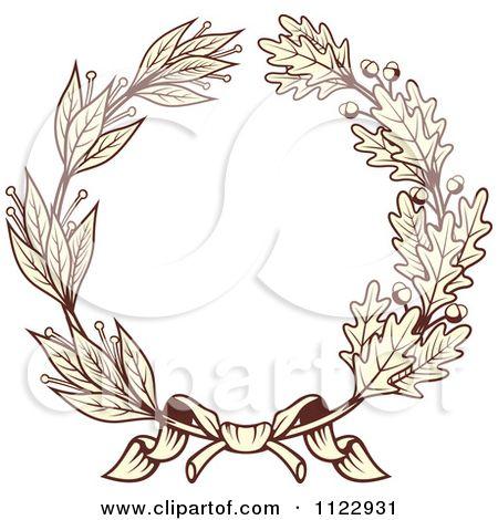 Clipart Of A Vintage Sepia Oak And Laurel Wreath 1.