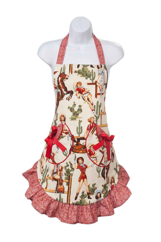 Annie VI Cute women\'s apron in sassy cowgirl print.