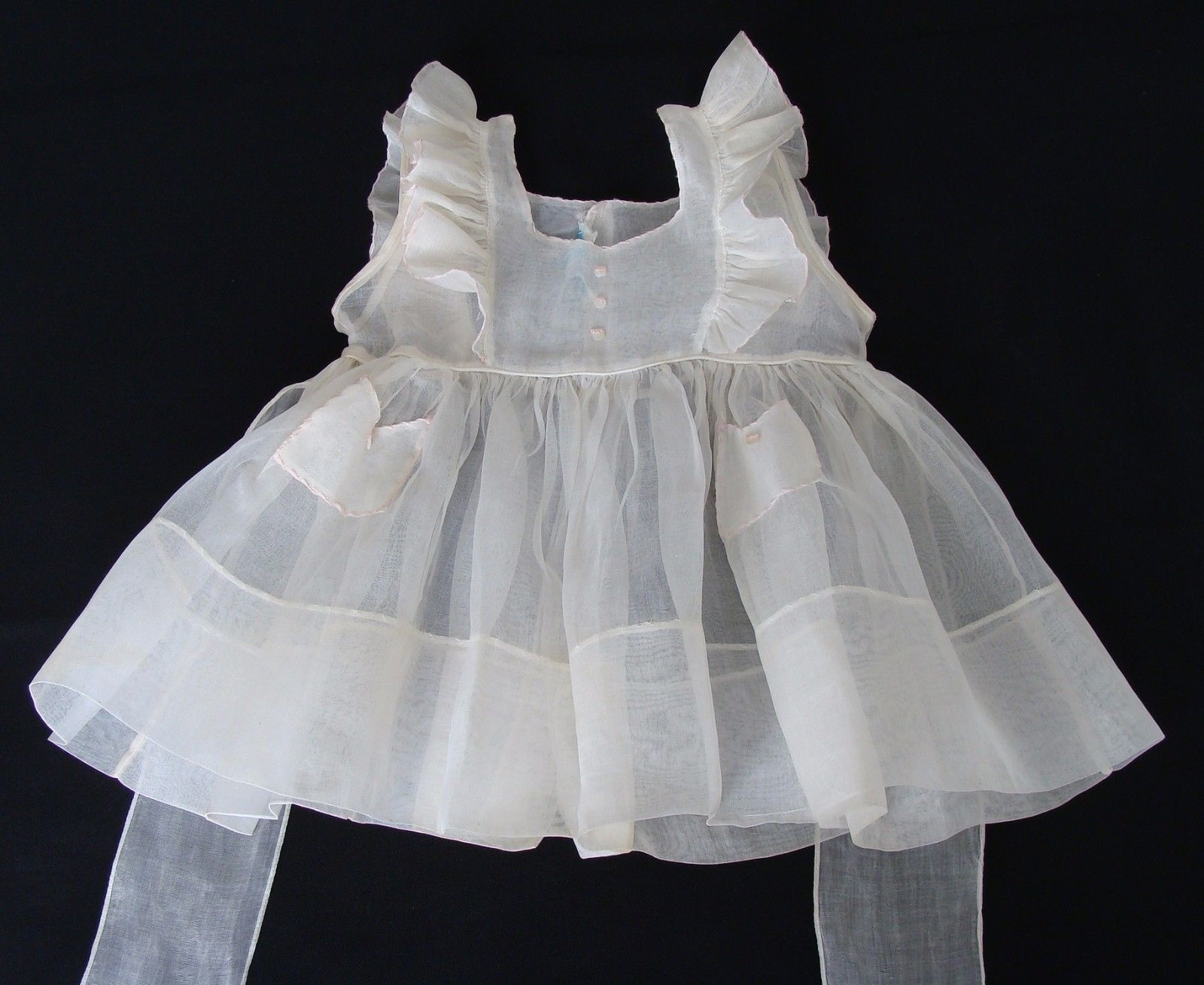 Vintage 1950s Sheer Cotton Organdy Girls Pinafore Dress A by.