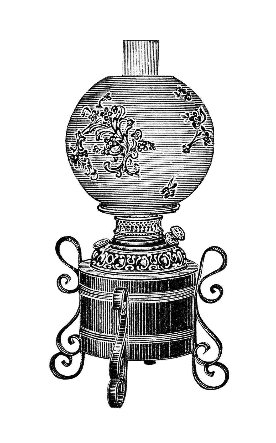 iron table lamp image, vintage lamp clipart, black and white.